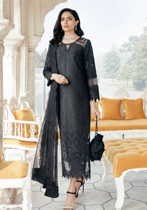 Black Embroidered Unstitched Suit  by Panachē Luxury Lawn
