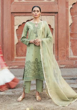 Pastel Green Embroidered Unstitched Suit  by Panachē Luxury Lawn