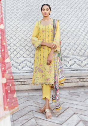 Yellow Embroidered Unstitched Suit  by Panachē Luxury Lawn