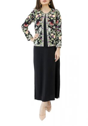 Black Georgette Jacket with Butterfly Embroidery by Nergisse n Veera