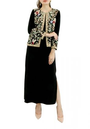Black Georgette Bird Design Jacket with Embroidery by Nergisse n Veera