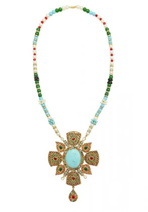 Multi Stones Feroza Necklace by Gorgeous Jew