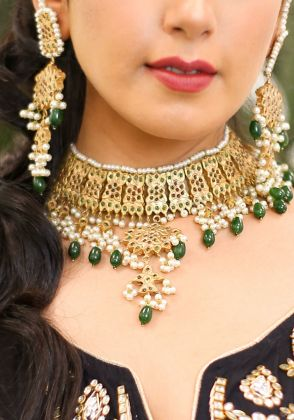 Gold Plated Emerald Choker by Gorgeous Jew