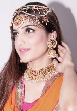 Gold plated Pakistani Kundan Necklace by Gorgeous Jew