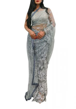 Grey Swiss Net Concept Saree With Glitter by Nergisse n Veera