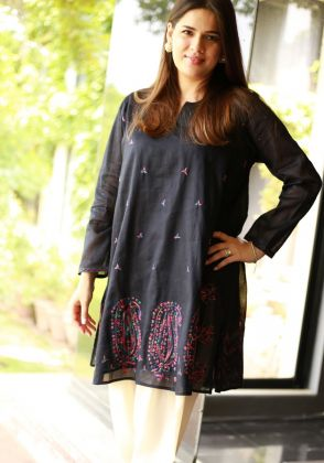Black Multi Paisely Shirt by Indus Heritage Trust