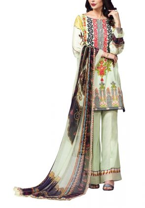 Light Green With Embroidered Yoke Unstitched Suit by Iqra Reza