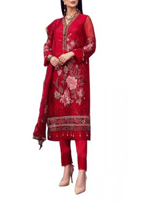 Red With Flower Embroidered Unstitched Suit by Iqra Reza