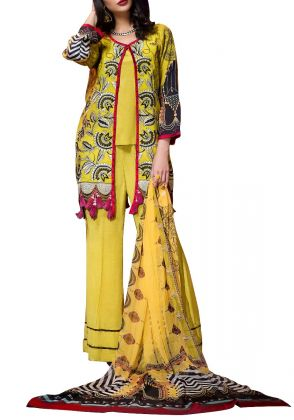 Yellow With Black Unstitched Suit by Iqra Reza