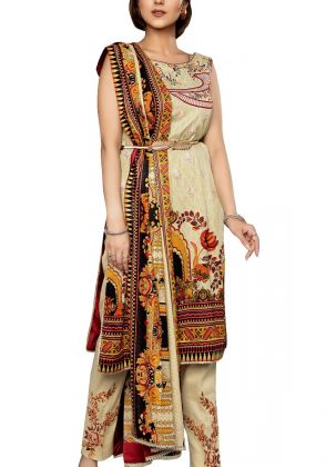 Beige with Maroon Unstitched Lawn Suit by Iqra Reza