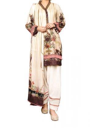 Cream Floral Linen Unstitched Suit  by Iqra Reza