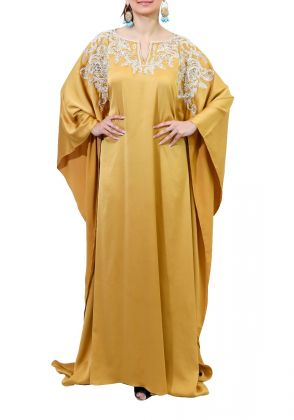 Yellow Kaftan by Imra Saeed