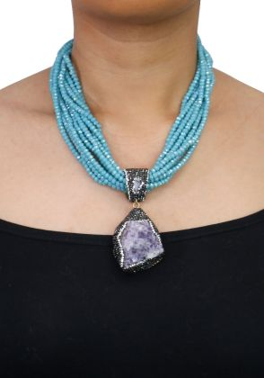 Amethyst Necklace Set by Ishiz Studio