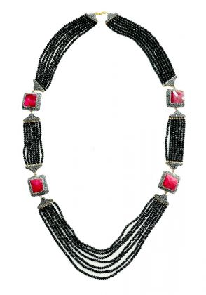 Ruby Jade Necklace by Ishiz Studio