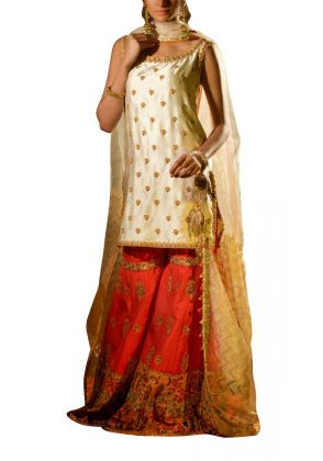 Ivory Gold Shirt & Dupatta with Coral Sharara by Fatima Ashar