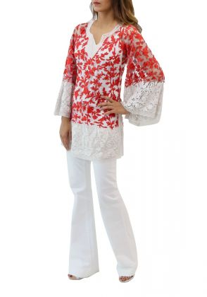 Kashida Tunic - Red & White