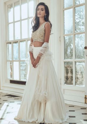 Off White Silk Satin Lehenga with Hand Embroidered Blouse by Laalatee By Nikita
