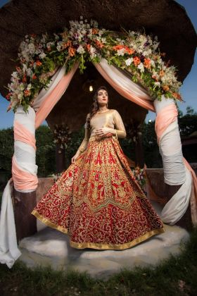 Lehenga Choli - Red by Zohaib Qadeer