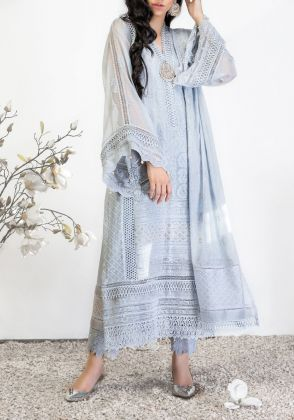 Lilac Chikankari Shirt  with Dupatta by Farida Hasan