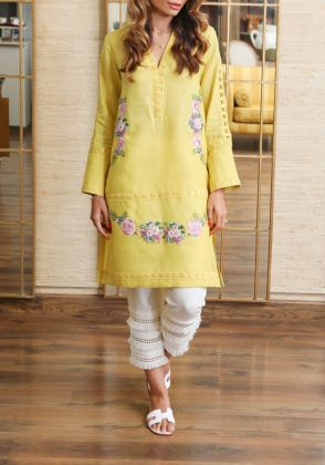 Lime Rose - Khadar Shirt with Embroidery  by Farida Hasan