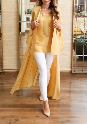 Luxe Cotton Jacket with Matching Slip by Farida Hasan