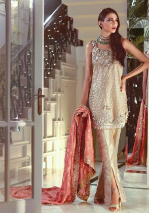 Lamé 3D Embroidered Shirt With Trousers and Dupatta by Maheen Karim