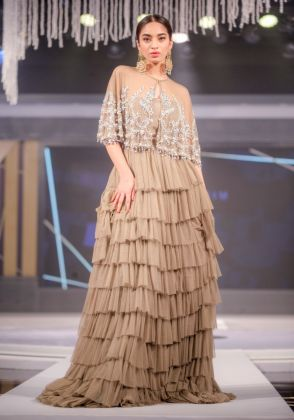 Grey Tulle Crystal Cape with Tiered Skirt by Maheen Karim