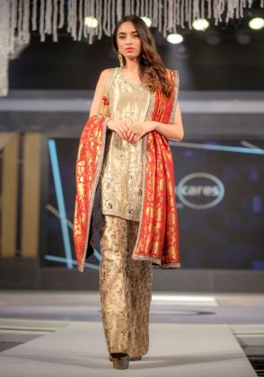 Gold Lamé Shirt with Brocade Trouser and Red Kamkhaab Dupatta by Maheen Karim