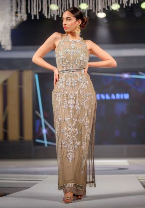 Grey Long Jewelled Kameez with Flared Trouser and a Belt by Maheen Karim