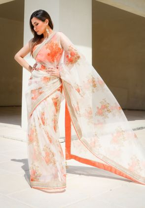 Orange Floral Saree by Nergisse n Veera
