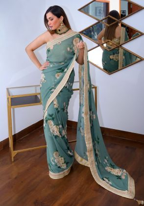 Green Floral Saree by Nergisse n Veera
