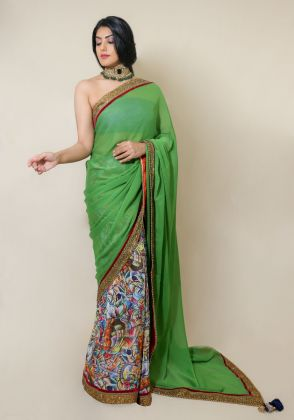Multi color Print Saree  by Nergisse n Veera
