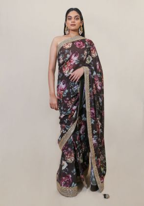 Wine Floral Saree  by Nergisse n Veera