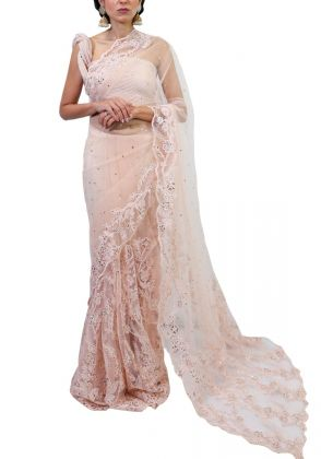 Peach Net and Lace Saree by Nergisse n Veera