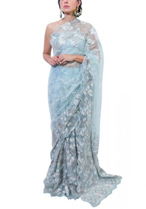 Aqua Green Over All Saree by Nergisse n Veera