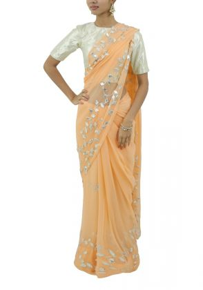Peach Chiffon Saree by Boulevard One Designs