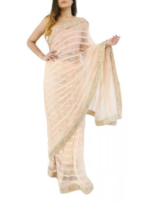 Peach Concept Saree by Nergisse n Veera