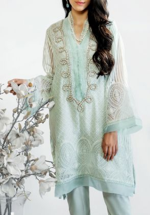 Turquoise Pearl twist shirt  by Farida Hasan