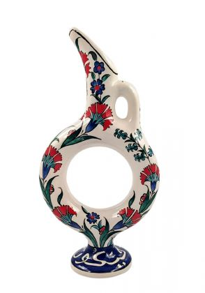 Decorative Handmade Red & White Pitcher by Poetic Strokes