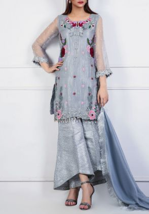 Pure Organza Straight Shirt by Zohaib Qadeer