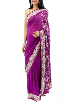 Purple Gara Embroidered Saree
