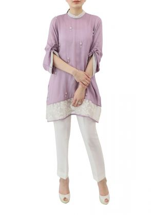 Raw Silk Tunic - Lilac by Shen