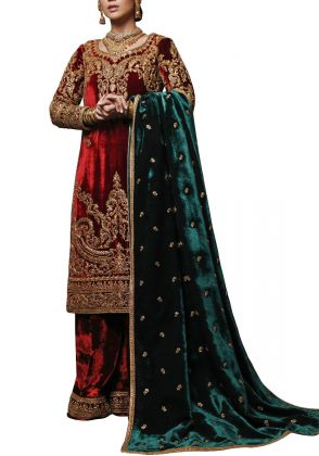 SHAHBANO GOLD DORI EMBROIDERED RED VELVET LONG SHIRT & SHAWL by Rizwan Beyg