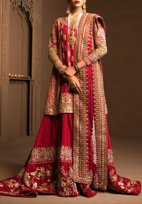Red Angrakha Bridal by The House of Kamiar Rokni