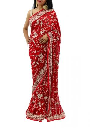 Red Gara Embroidered Saree