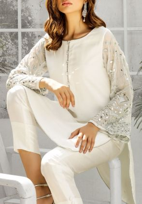Romi-White and silver mirror worked sleeves (two piece set) by Natasha Kamal