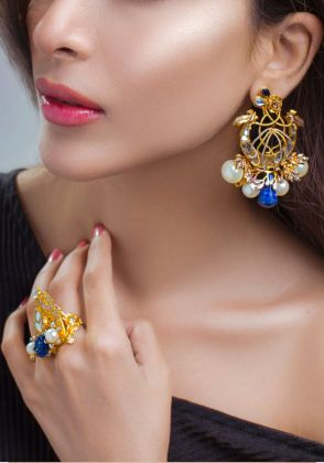 Royal Crest Lapis Earrings by Rema Luxe