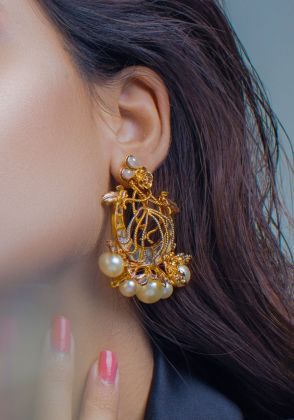 Royal Crest Pearl Earrings by Rema Luxe