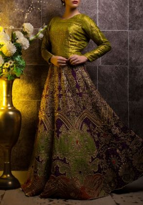 Sequence and Kora Lehenga Ensemble by Zohaib Qadeer