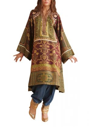 Digitally Printed Pure Raw Silk Knee Length Tunic by Shamaeel